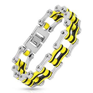 Bracelet-homme-Chaine-MotorCycle-jaune